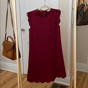 Scalloped Deep Wine Colored Ted Baker Dress